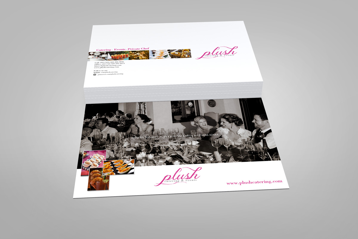 Plush Catering postcard